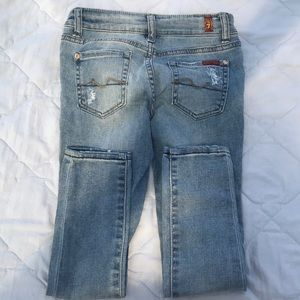 7 For All Mankind Bottoms - 7 for All Mankind Skinny Jean with distressing